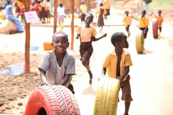 Children with tyres