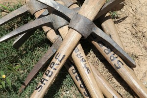 A pile of pick axes
