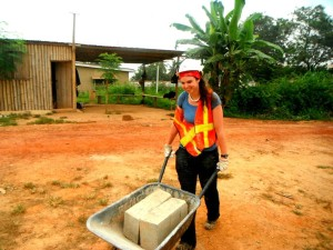 volunteer on construction site