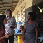 Esther Moses (teacher at Anajie MA KG) chatting to Maham