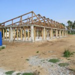 image: roof trusses erected