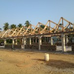 image: block wall and roof trusses
