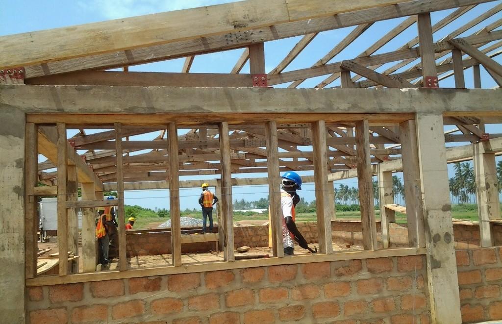 stud wall in ghanaian classroom