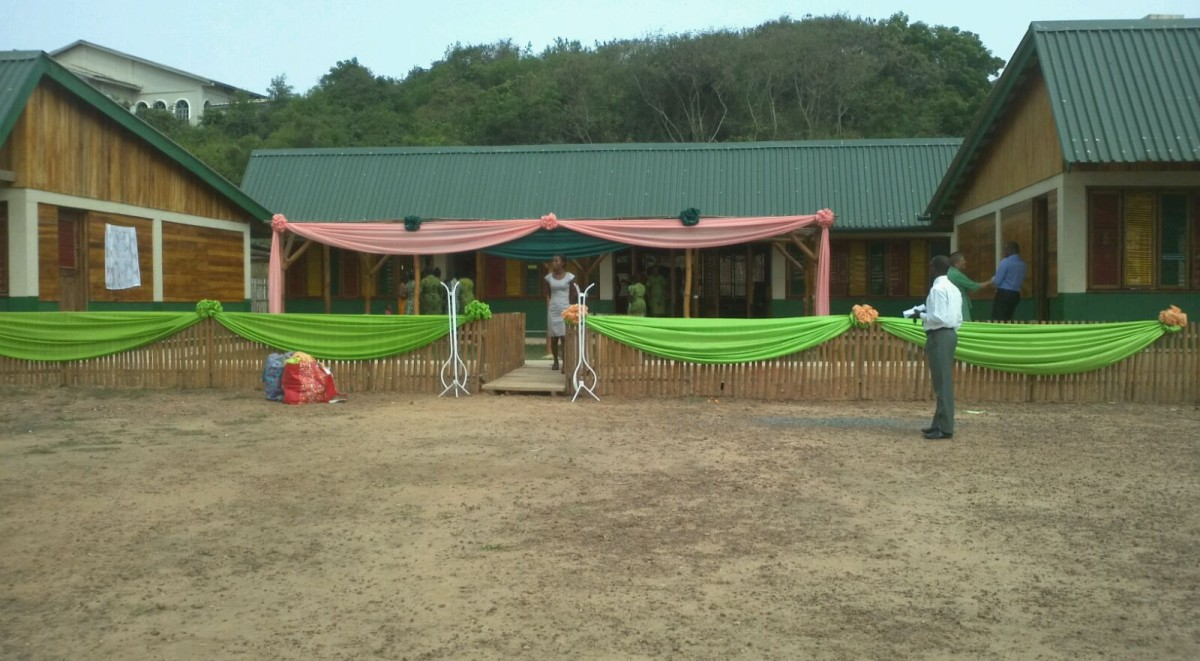 School decorated ready for the ceremony